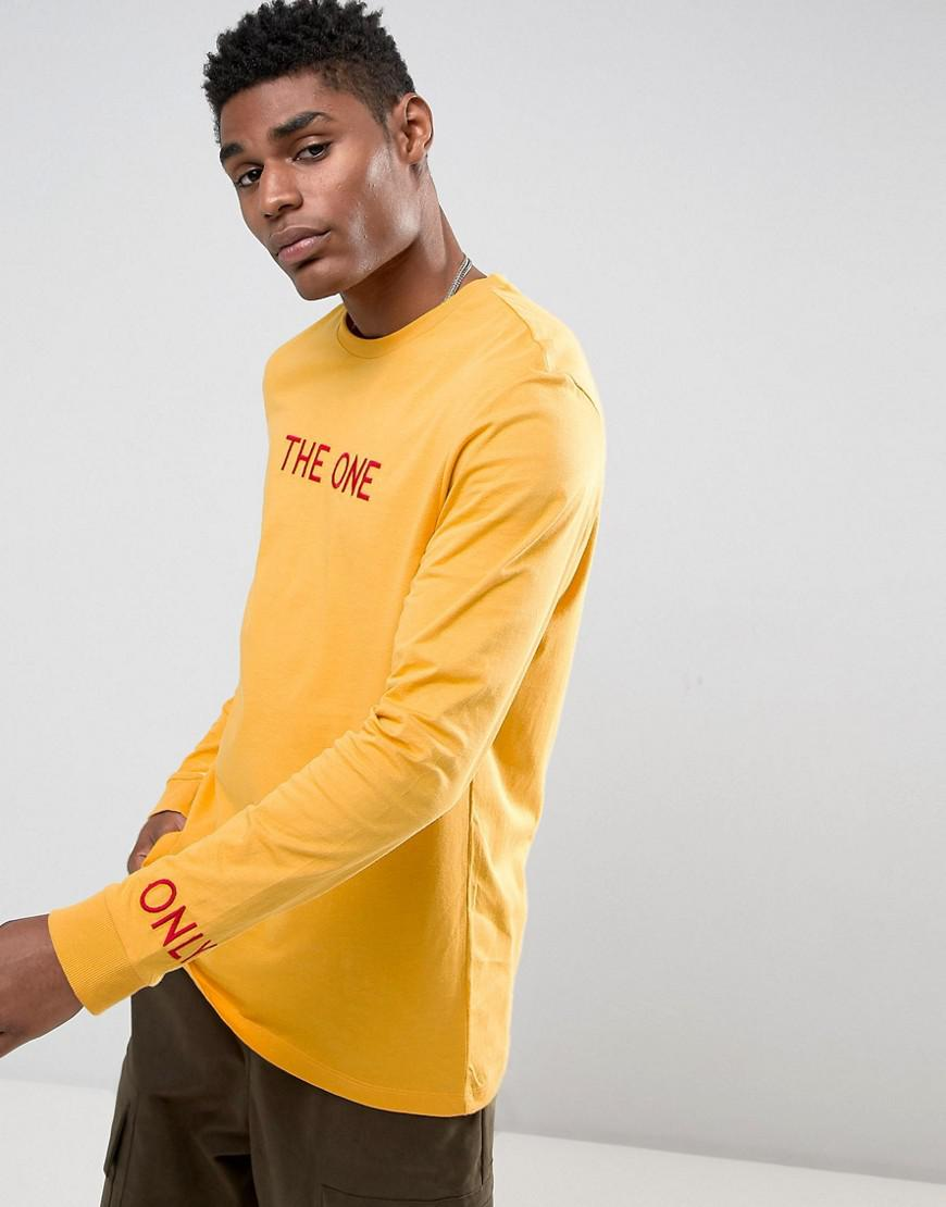 Lyst asos relaxed long sleeve t shirt with chest for Yellow long sleeved t shirt