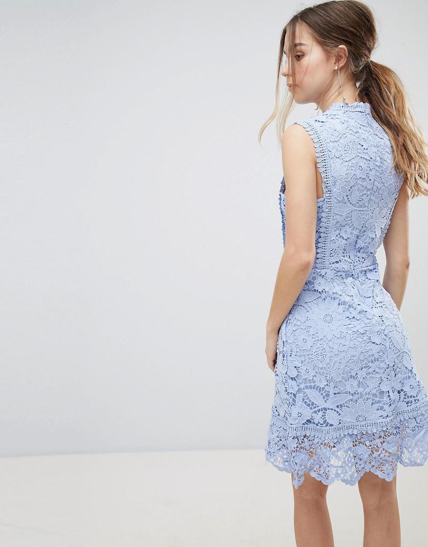 Exclusive Petite Bib Detail Lace Midi Dress