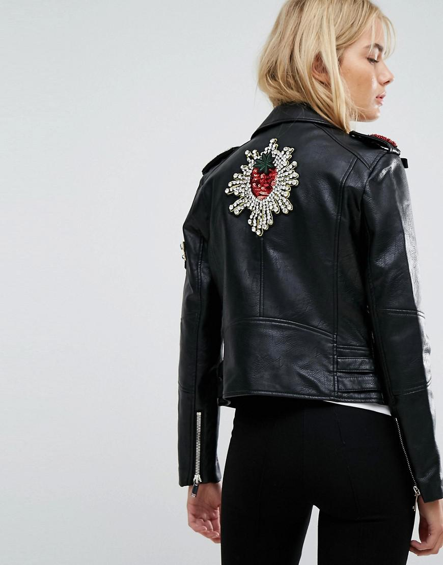 58dc8b21141dc Lyst - Mango Embellished Faux Leather Jacket in Black