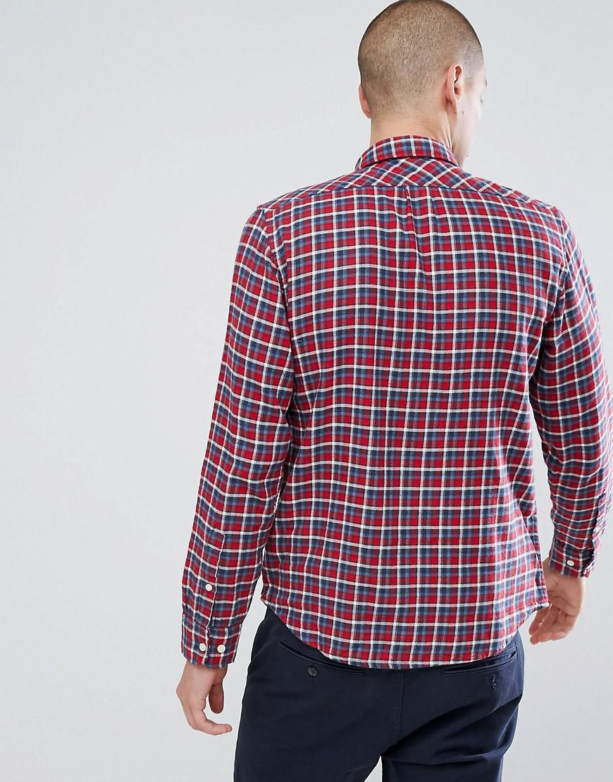 Lee Jeans Denim Jeans Button Down Check Shirt in Red for Men