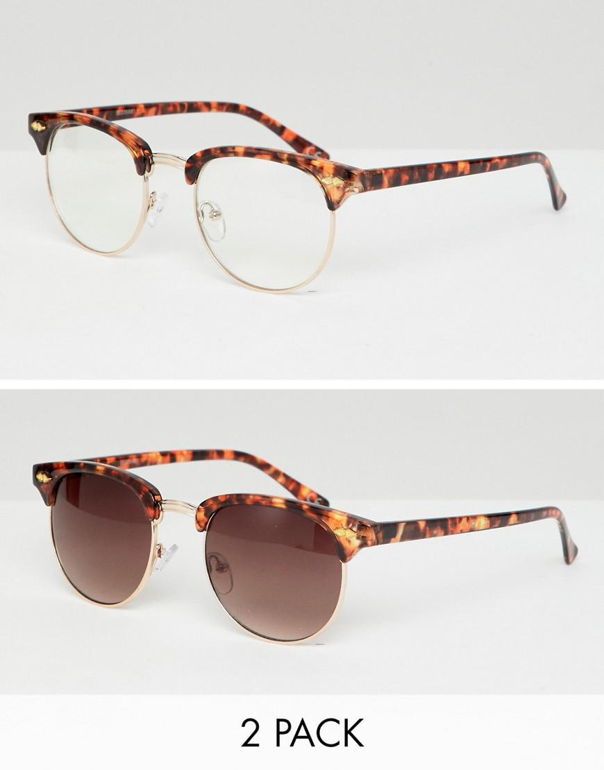 0f8d2d52c0547a Lyst - ASOS 2 Pack Retro Sunglasses In Tort With Clear Lens   Brown ...