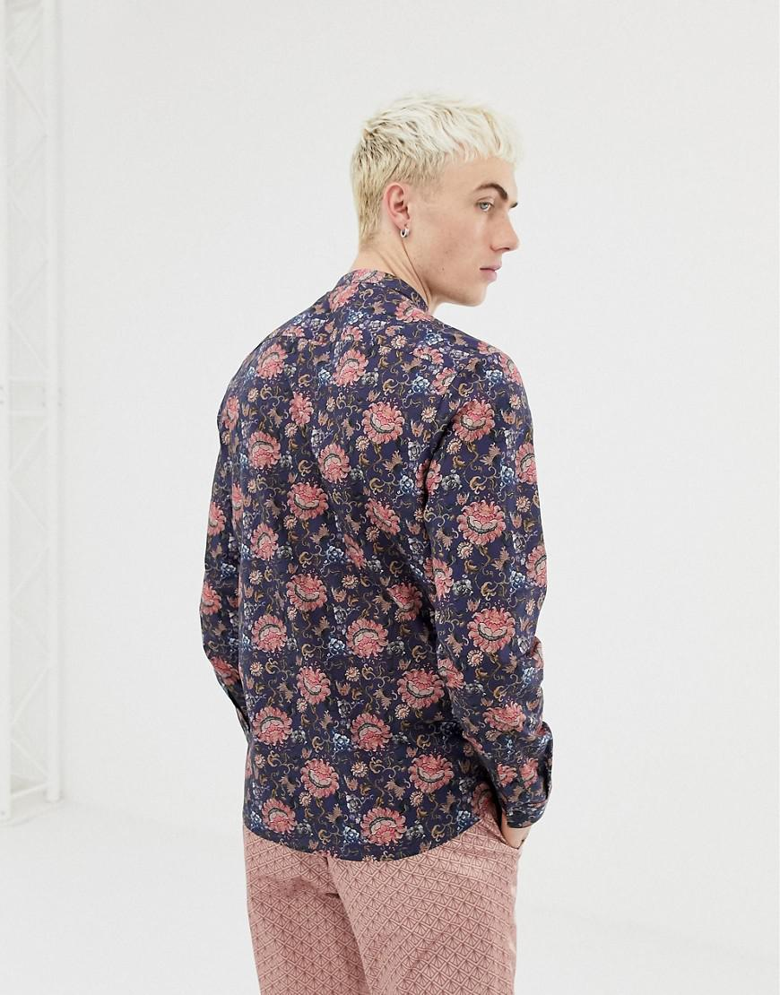 f9de006fd3a ASOS Regular Fit Floral Shirt In Blue With Grandad Collar in Blue for Men -  Lyst
