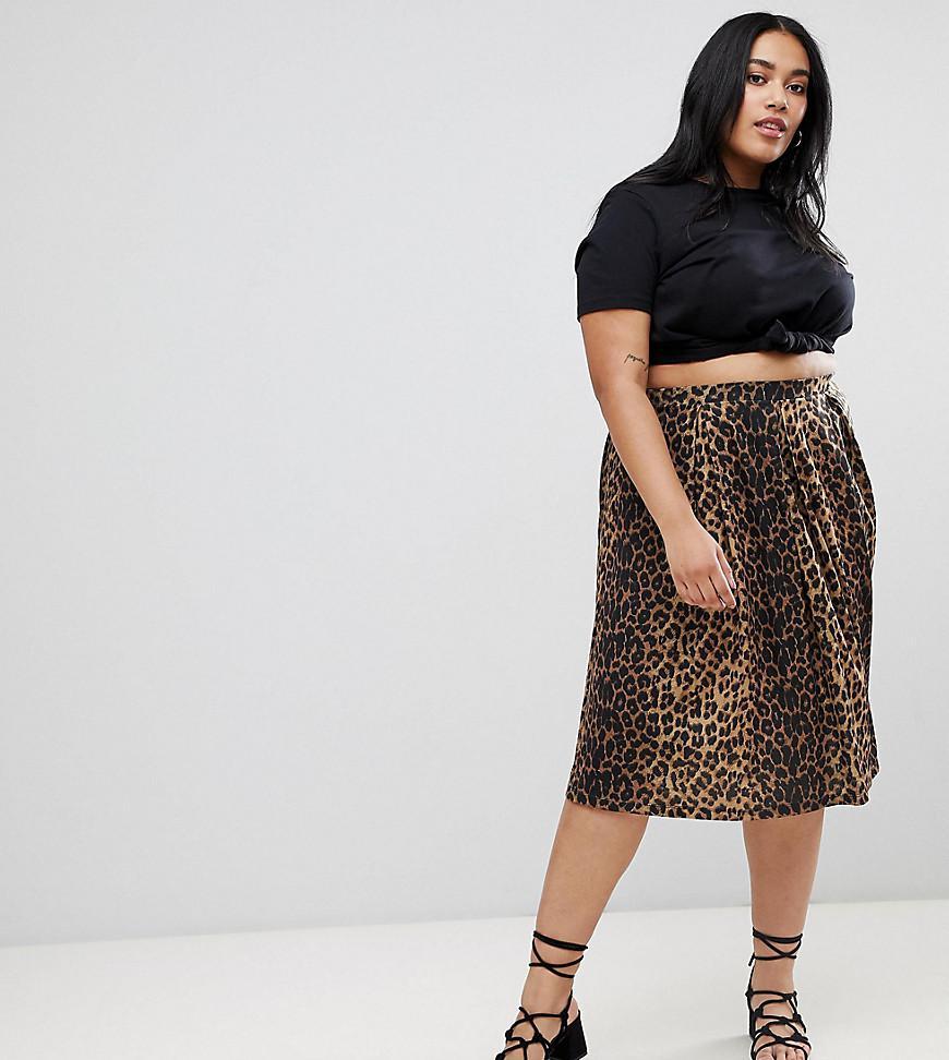 d56657838 ASOS Asos Design Curve Box Pleat Midi Skirt In Leopard Print - Lyst