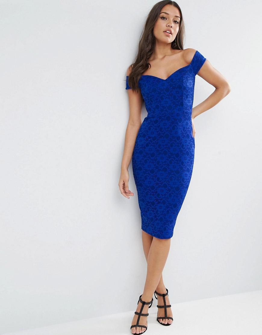 ASOS Lace Sweetheart Bardot Midi Bodycon Dress in Blue - Lyst