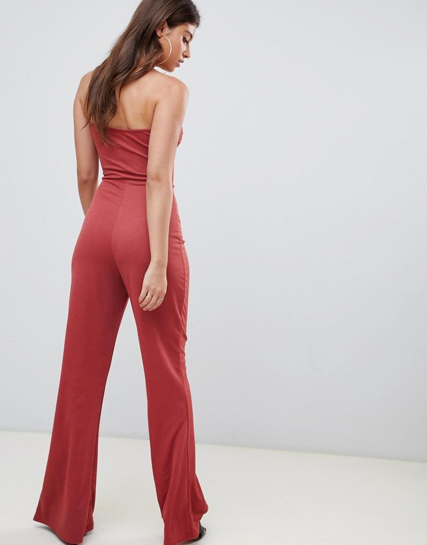 e028abc27f94 Lyst - PrettyLittleThing Flared Bandeau Jumpsuit in Brown
