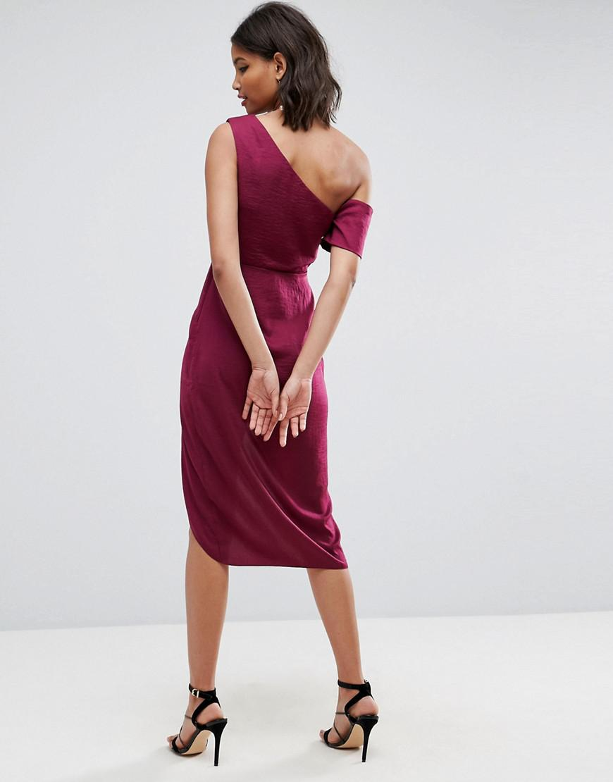 Lyst - ASOS Asos Hammered Satin Pencil Midi Dress in Red 5aa6337bb