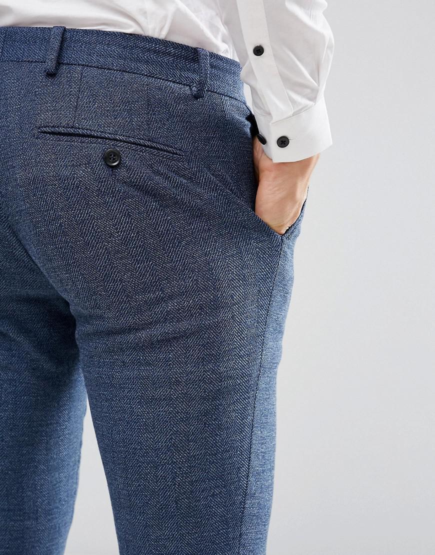 Jack & Jones Premium Slim Suit Pants In Herringbone Tweed in Blue for Men