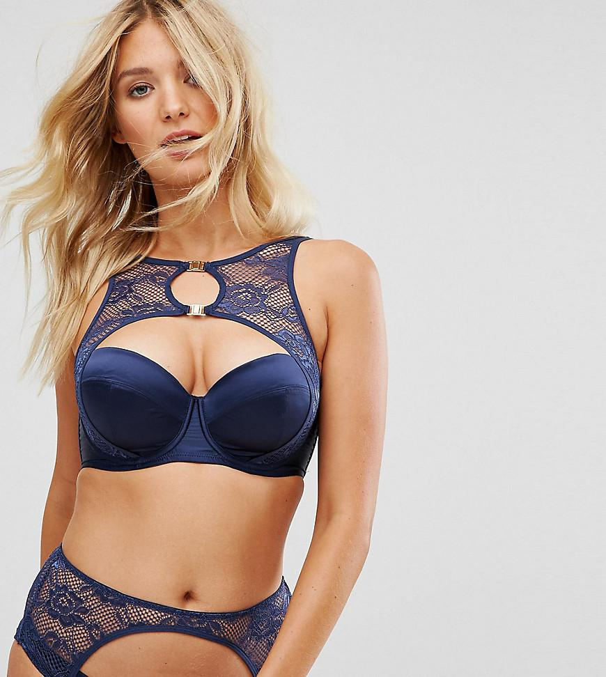 df88dfb85dd92 Lyst - Wolf   Whistle B-g Navy Lace Halter Bra in Blue