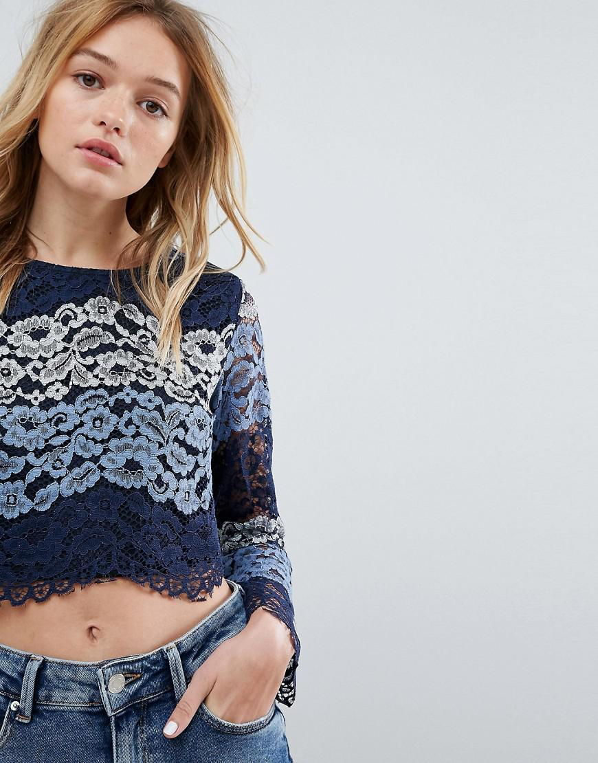 Discount Great Deals Long Sleeve Lace Top - Blue Ouvre Fashion Sale Visa Payment Perfect Cheap Price Quality OuAX0r7ta
