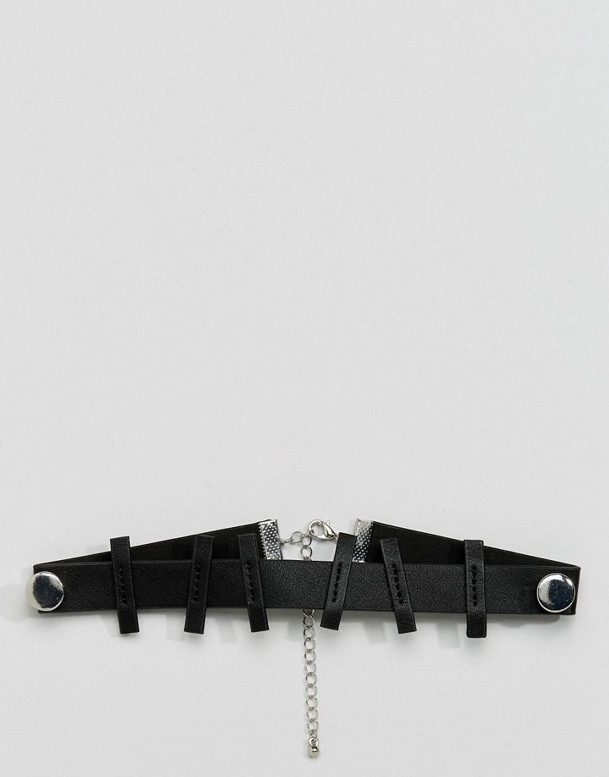 ASOS Asos Novelty Choker Necklace With Bolt Design in Black for Men