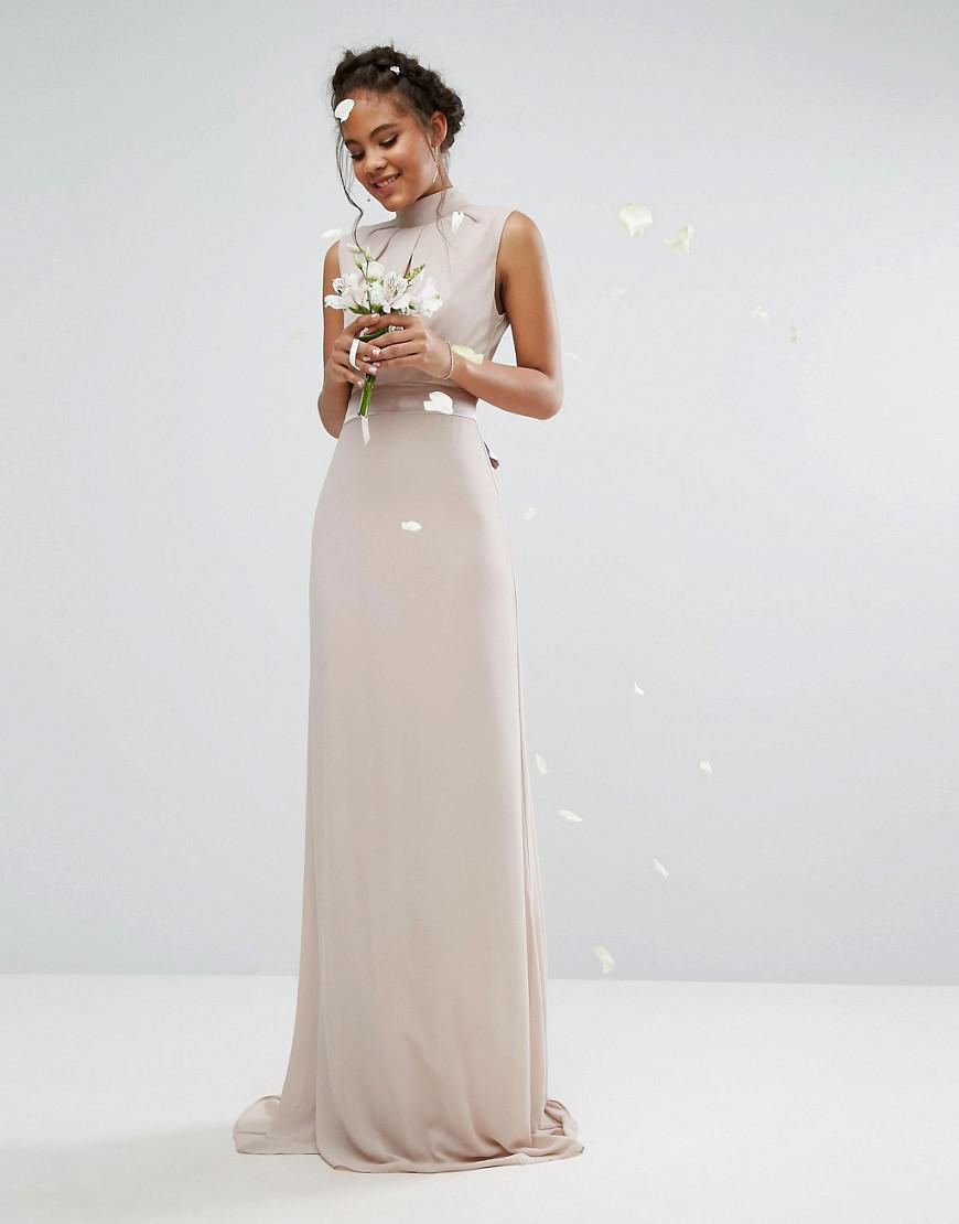 Lyst - TFNC London High Neck Maxi Bridesmaid Dress With Bow Back in Pink 8c8576941