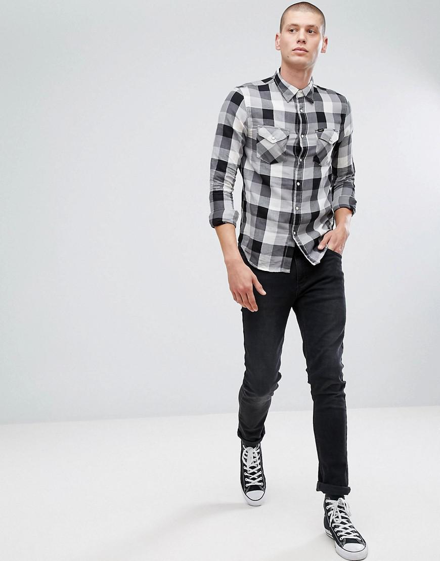 Lee Jeans Denim Jeans Western Shirt In Black Check for Men