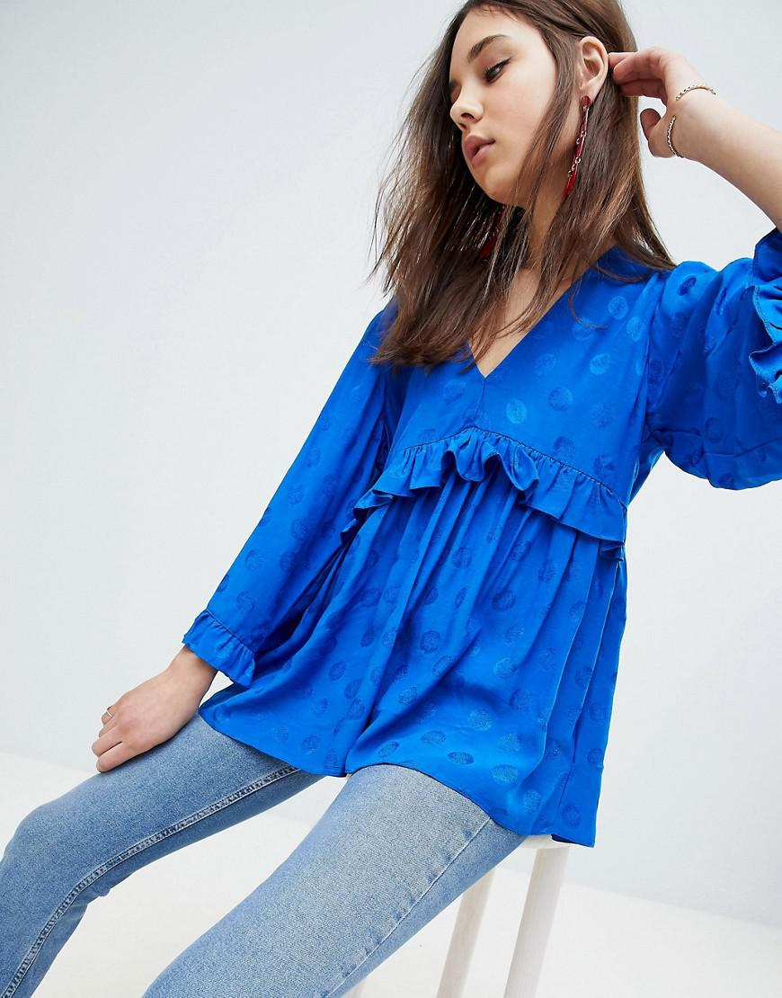 14f3551b51819c ASOS Plunge Ruffle Smock Long Sleeve Top In Jacquard in Blue - Lyst