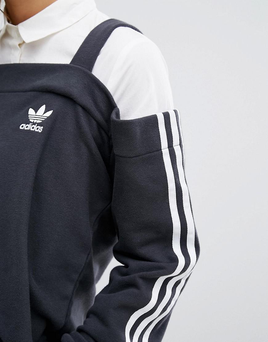 8f511053bd adidas Originals Originals Cold Shoulder Three Stripe Top in Black ...
