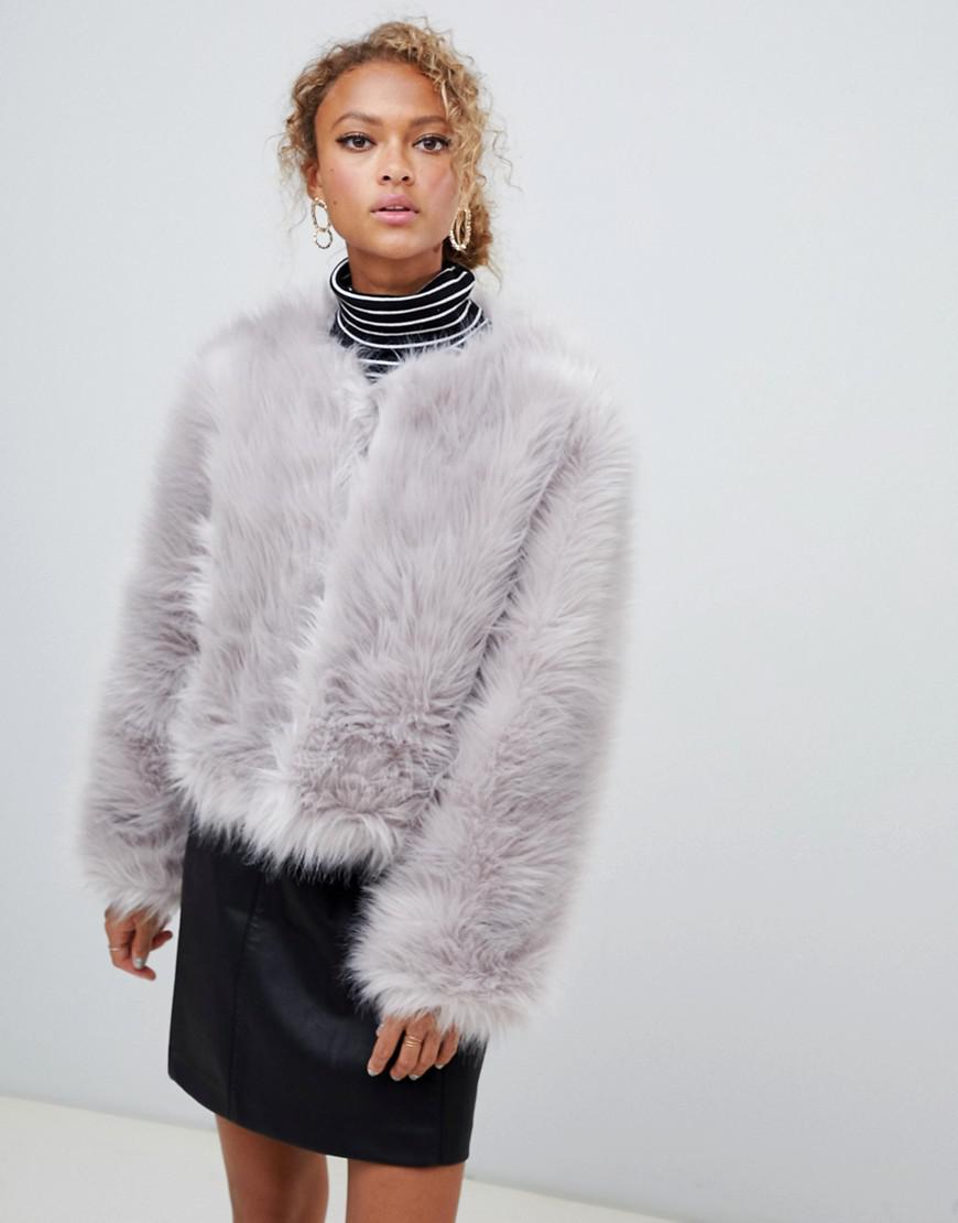 6b1f9c57a28 Lyst - New Look Fluffy Faux Fur Collarless Jacket in Gray