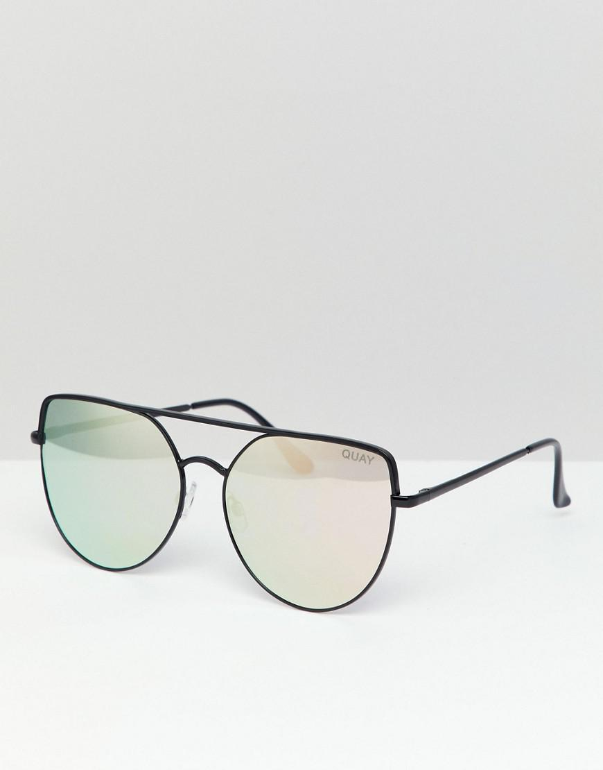 f3af48b59af9f Lyst - Quay Santa Fe Overisized Cat Eye Sunglasses in Black