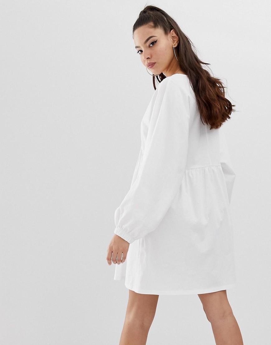 5e919924365 ASOS Long Sleeve Wrap Front Mini Smock Dress in White - Lyst