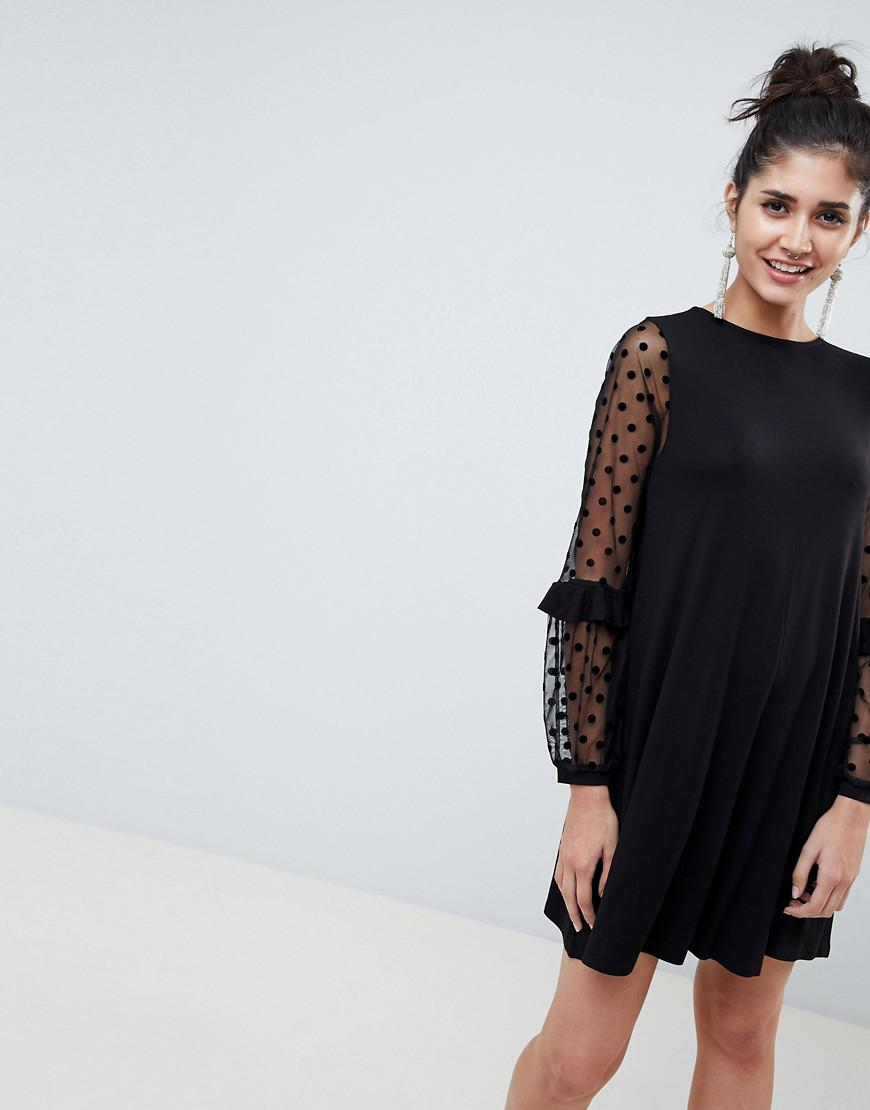 Lyst - ASOS Shift Dress With Dobby Mesh Sleeves in Black 7b123406b