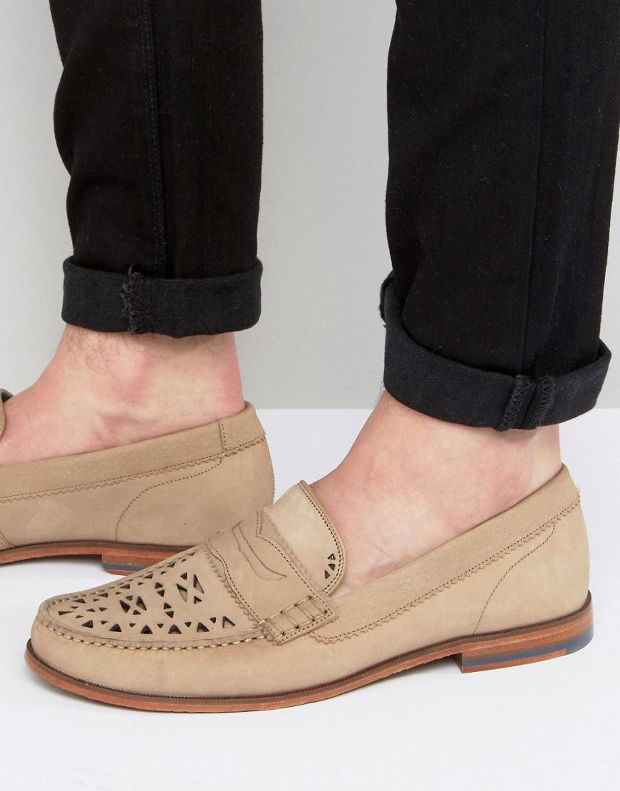 a31427e8a076f Lyst - Ted Baker Miicke Cut Detail Nubuck Loafers in Natural for Men