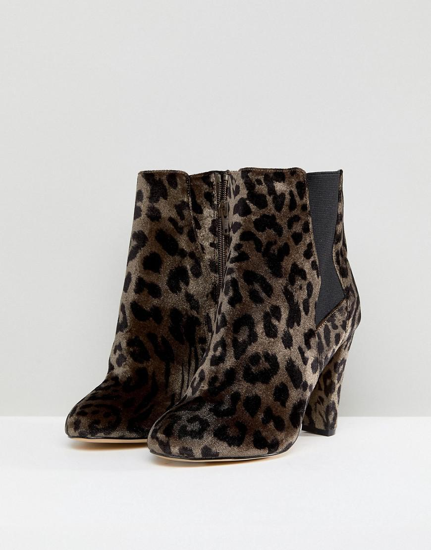 418f64aa2a4b Lyst - River Island Wide Fit Leopard Print Heeled Ankle Boots