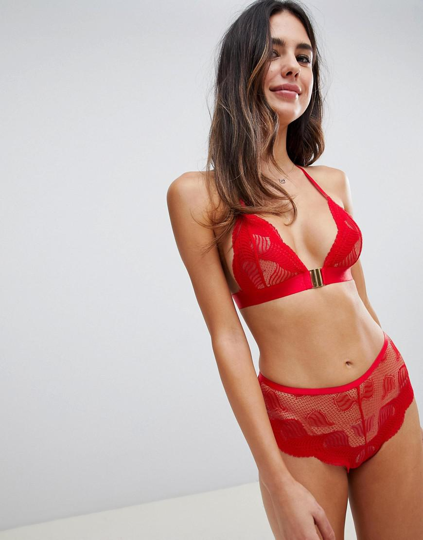 2d74532916 Asos Kirsten Deco Lace Triangle Bra in Red - Lyst