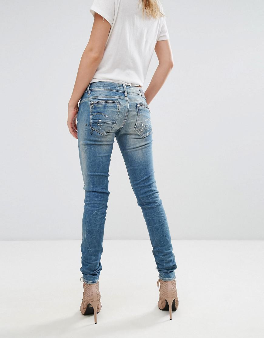 1088d981d83 Lyst - G-Star RAW Midge Zip Low Rise Skinny Jeans in Blue