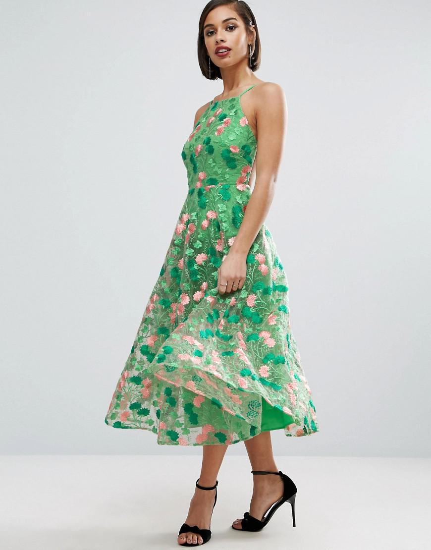 db0271ba3fef2 Asos Salon Floral Embroidered Backless Pinny Midi Prom Dress ...