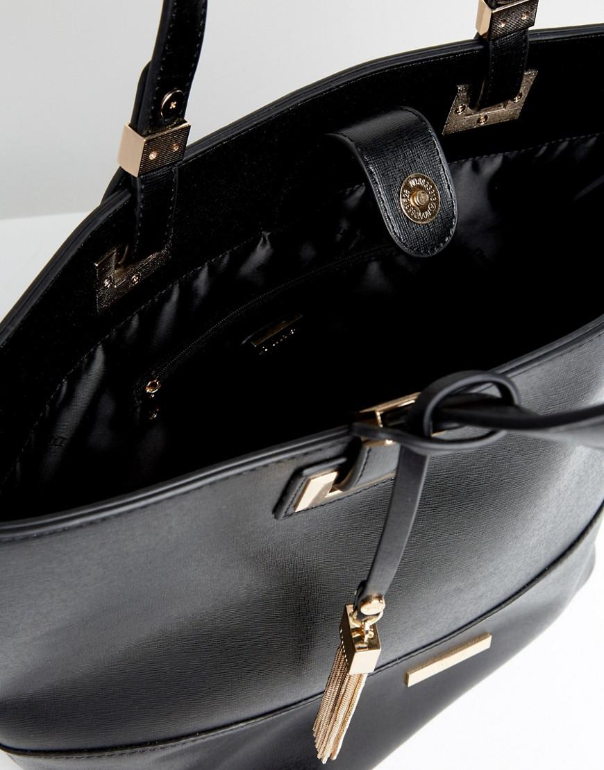 Dune Large Layered Valentine Tote Bag in Black