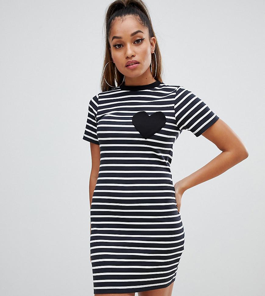 50fa5eb26d4 Lyst - ASOS Asos Design Petite Mini Bodycon Stripe T-shirt Dress ...