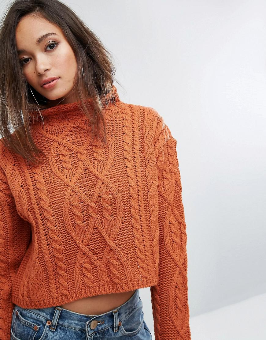 1a28776e457 PRETTYLITTLETHING Orange Cable Knit Cropped Jumper