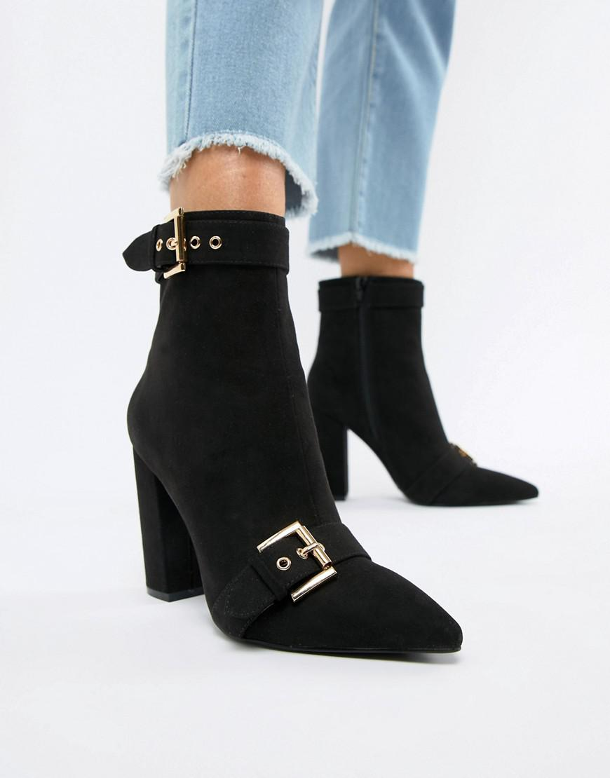 e51c96c5f91 Lyst - London Rebel Pointed Heeled Ankle Boots in Black