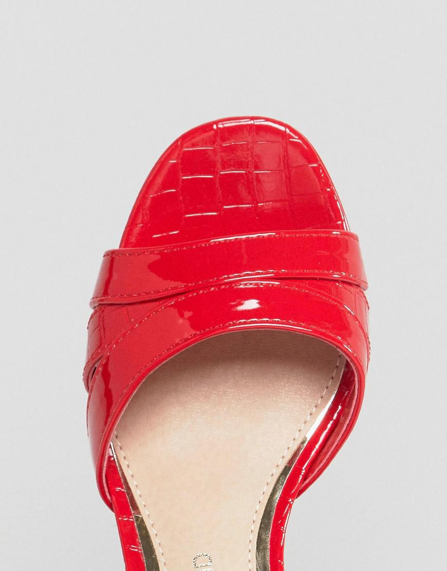 2b718d4f296 Lyst - River Island Faux Leather Platform Sandals in Red