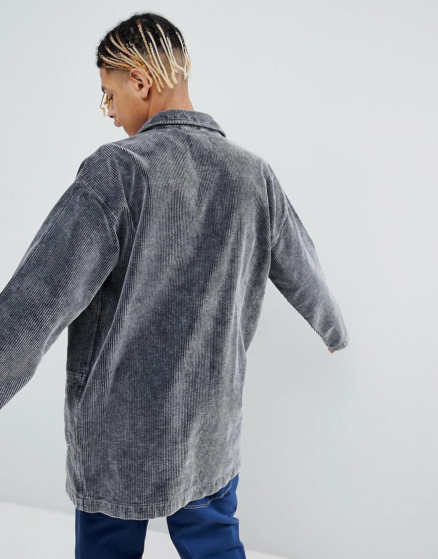 ASOS Denim Cord Worker Jacket in Black for Men