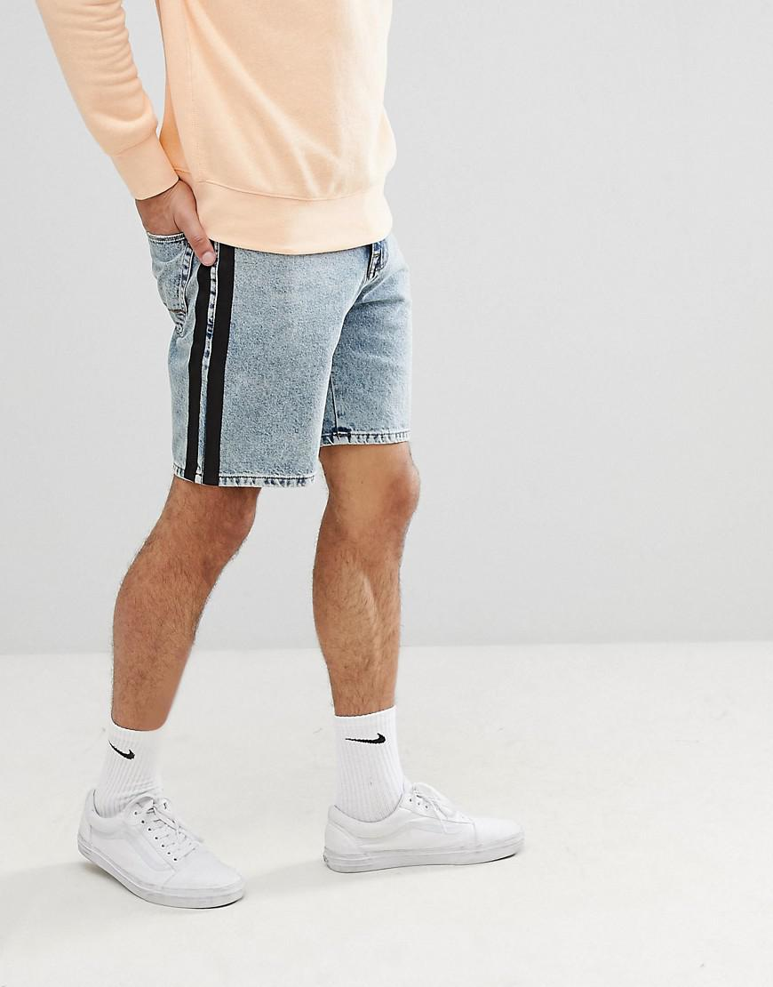 DESIGN Denim Shorts In Relaxed Fit Dark Wash Blue With Printed Stripe - Indigo Asos