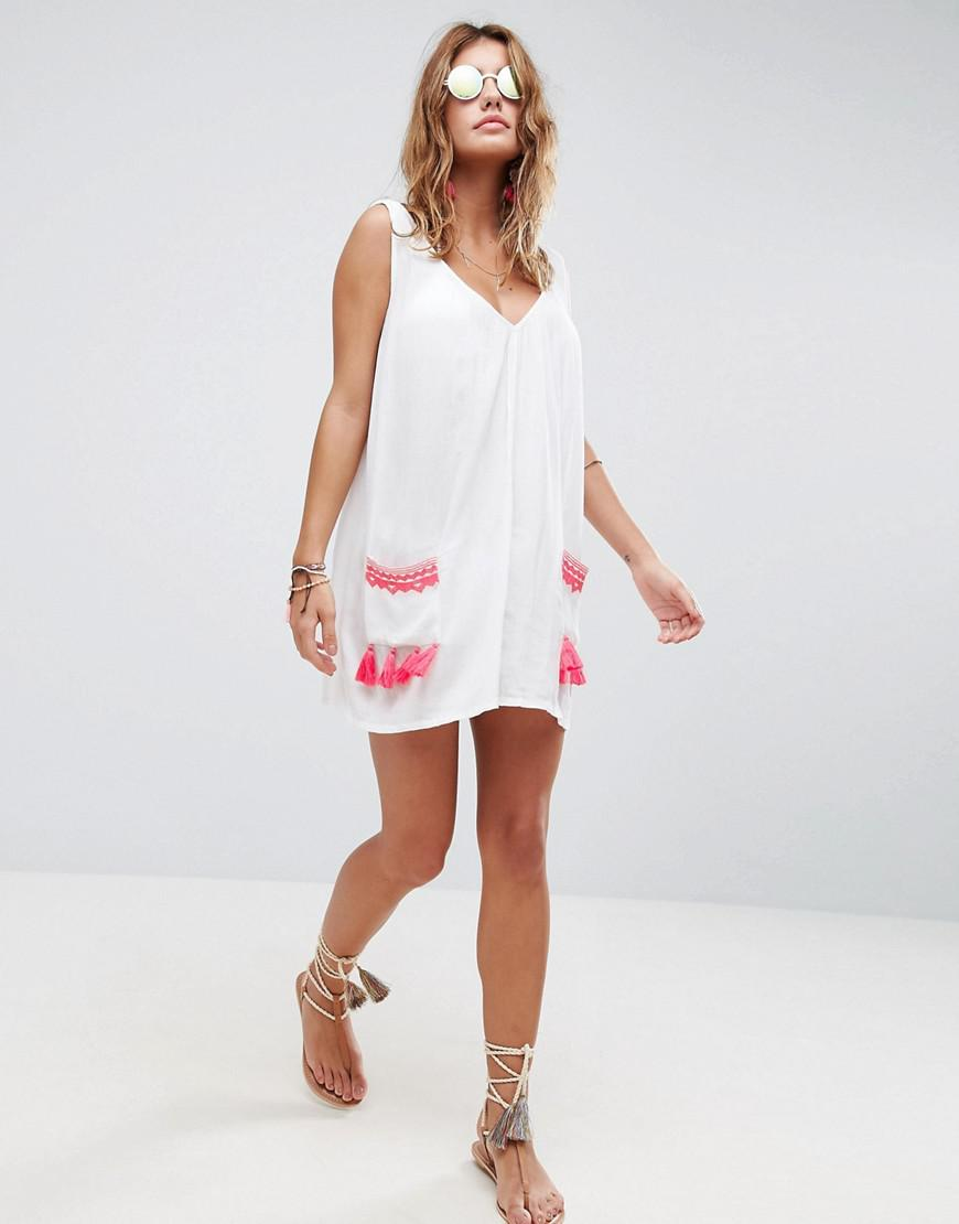 651ac37bf65 ASOS Beach Chuck On Dress With Neon Pocket Embroidery And Trim in ...