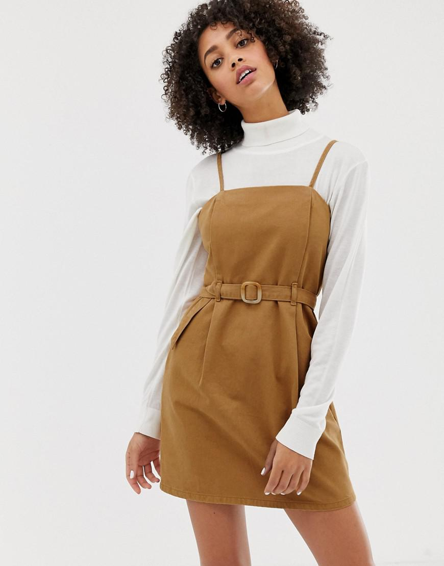 0311e1c369 ASOS. Women's Denim Strappy Dress With Belt In Toffee