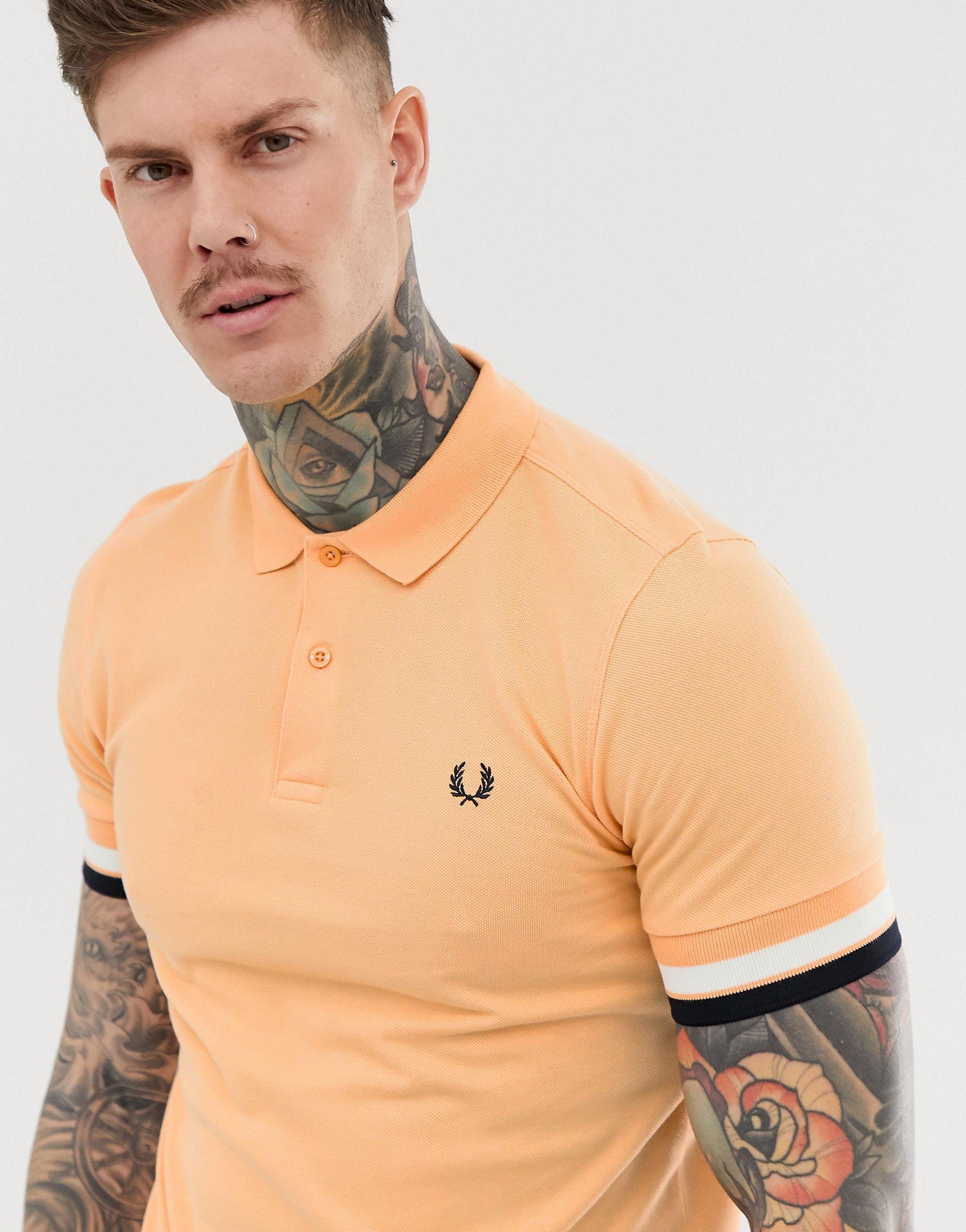 Fred Perry Katoen Polo Met Brede Manchet in het Oranje voor heren