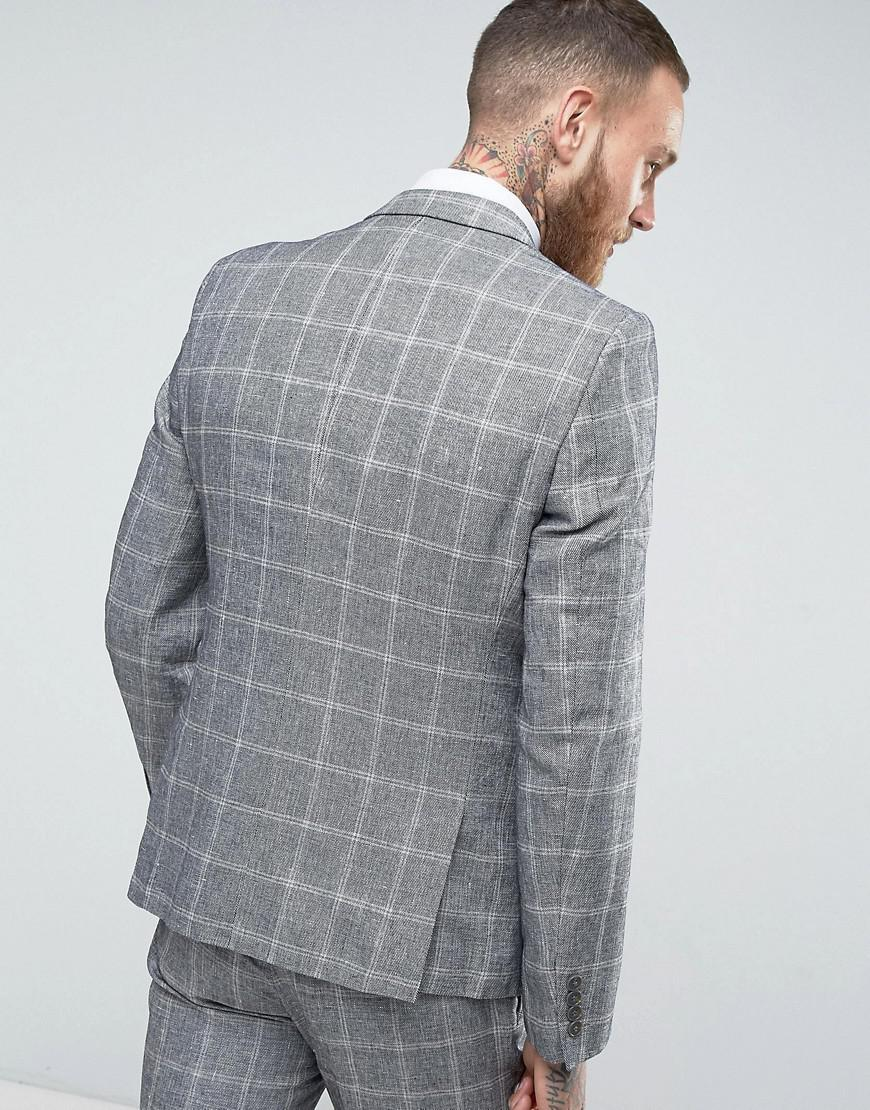 French Connection Slim Fit Linen Check Jacket in Grey (Grey) for Men