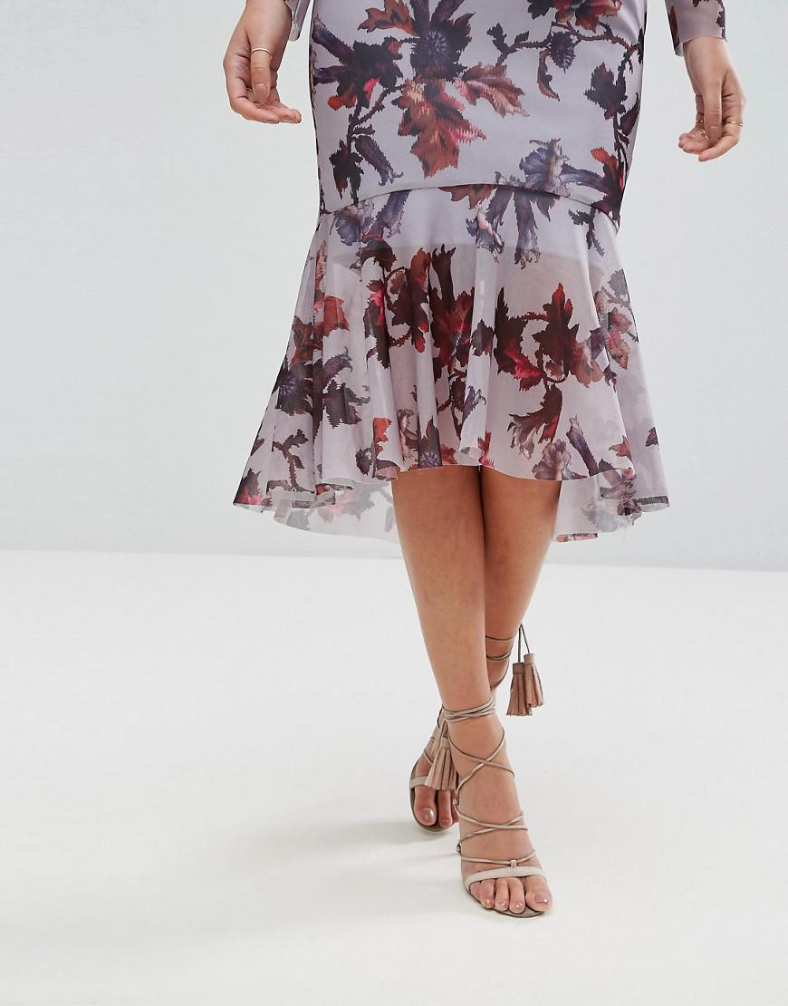 Hope and Ivy Synthetic Hope & Ivy Long Sleeve Floral Printed Mesh Dress With Peplum Hem in Purple