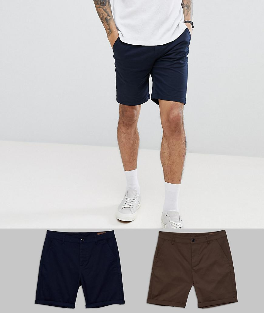 ASOS. Men's Blue Design 2 Pack Slim Chino Shorts In Navy & Brown Save