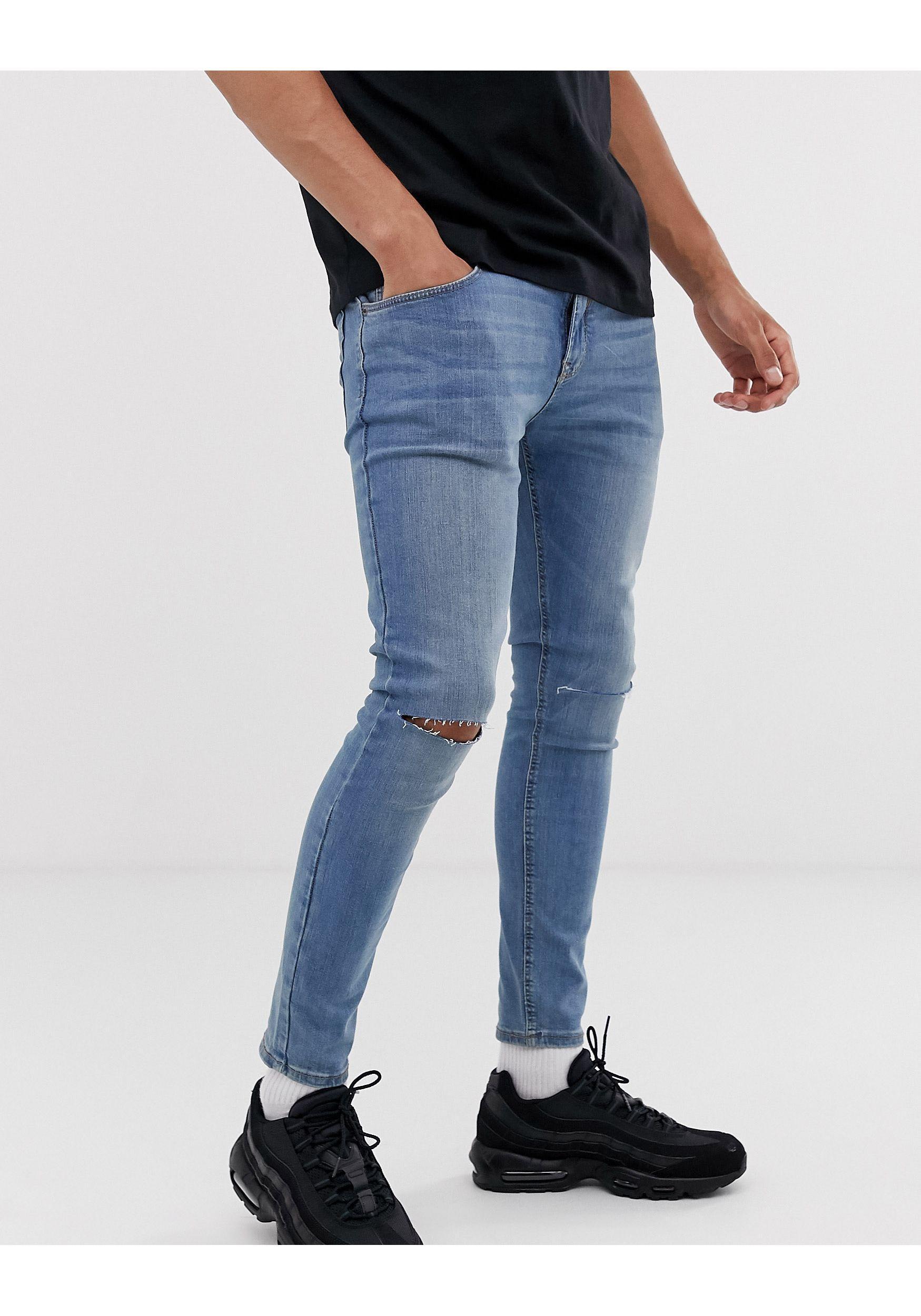 Pull&Bear Denim Superskinny Jeans Met Kniescheuren in het Zwart voor heren