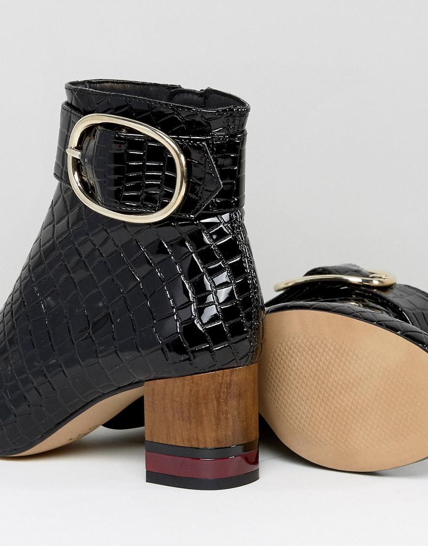 KG by Kurt Geiger Kg By Kurt Geiger Ringo Croc Effect Block Heeled Ankle Boots in Black