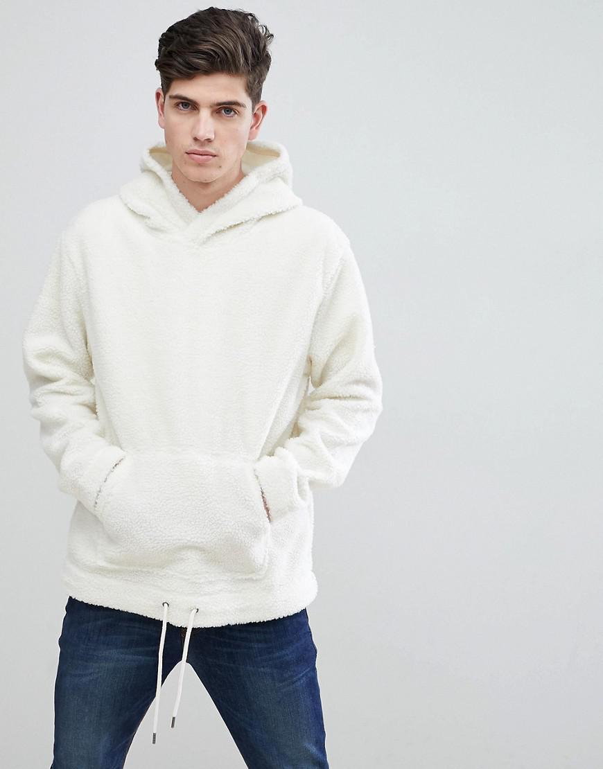 90158087e Mango Man Faux Shearling Hoodie In Off White in White for Men - Lyst