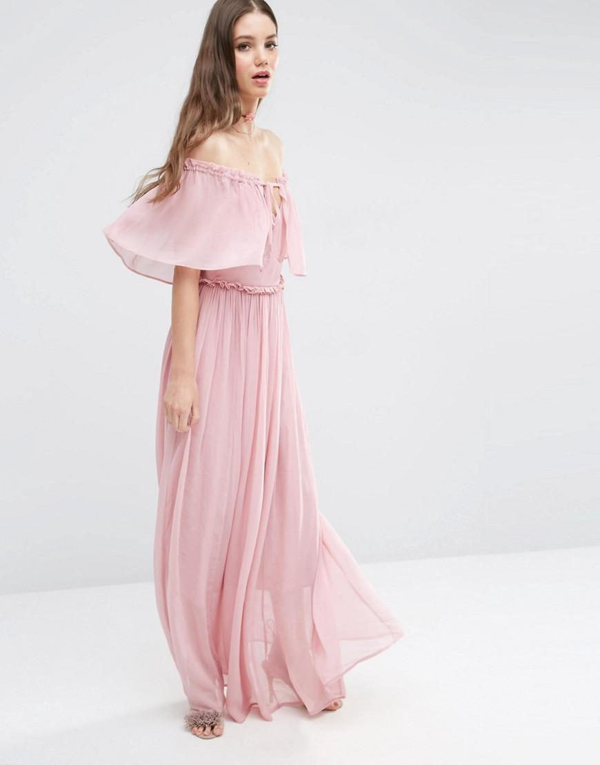 1d9e2a3b7d2 ASOS Pink Ruffle And Tiered Off Shoulder Maxi Dress