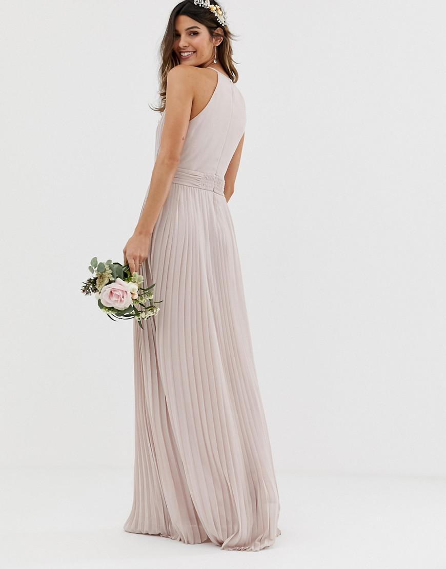596ede5c91c TFNC London Bridesmaid Exclusive High Neck Pleated Maxi Dress In Taupe in  Brown - Save 17% - Lyst