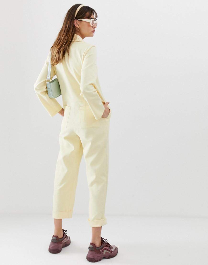 f691d2d64e9 Lyst - Reclaimed (vintage) Inspired Boiler Suit With Button Front In Twill in  Yellow