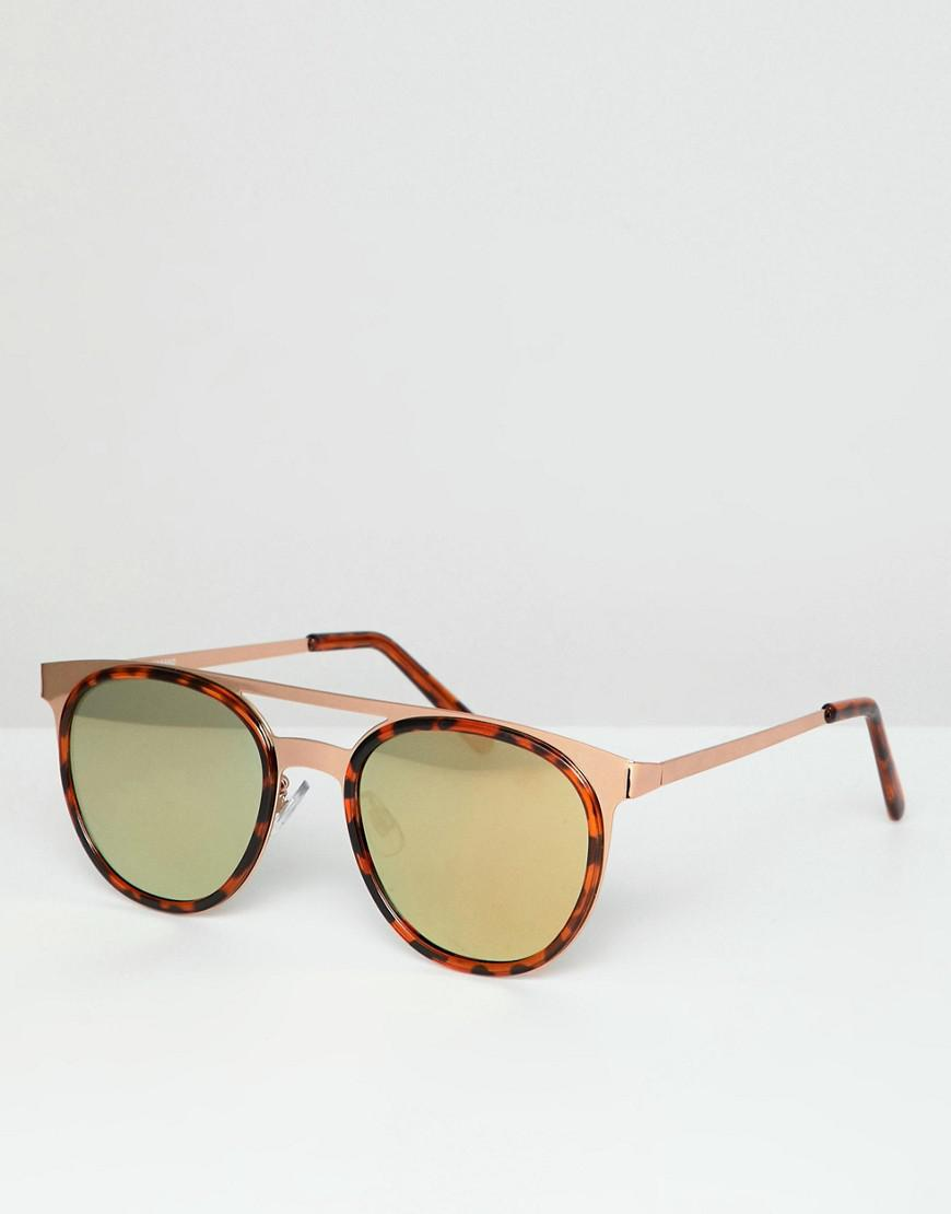 4957ac064a Lyst - ASOS Round Sunglasses In Rose Gold Metal With Tort Deails in ...