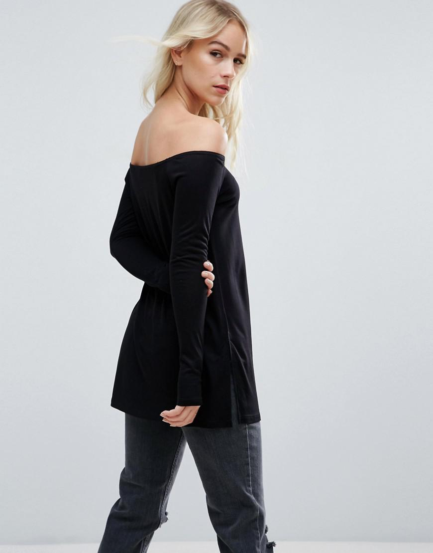 7f0c613e212 ASOS Off Shoulder Slouchy Top With Side Split in Black - Lyst