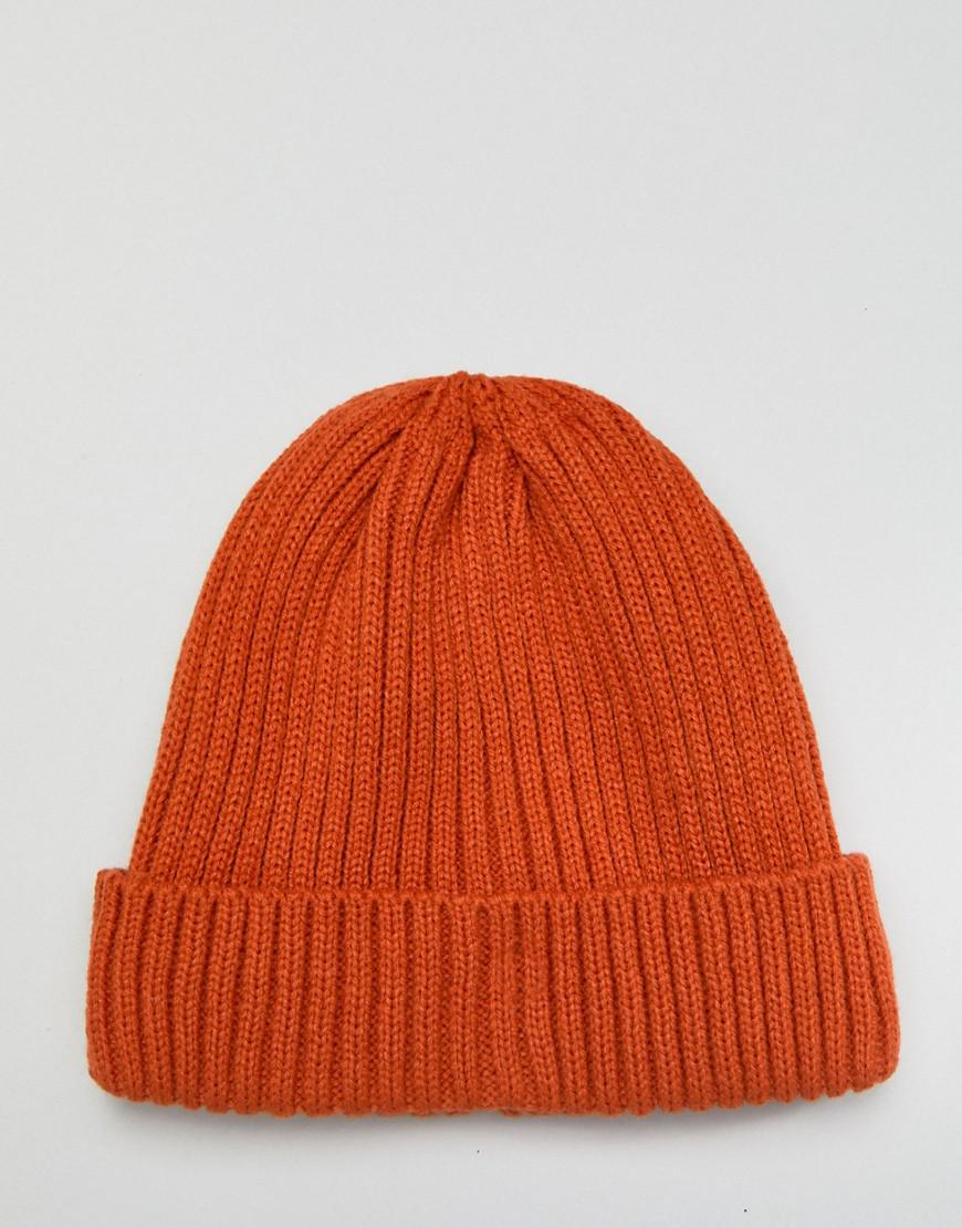 0f975e897 New Look Ribbed Beanie In Bright Orange for men