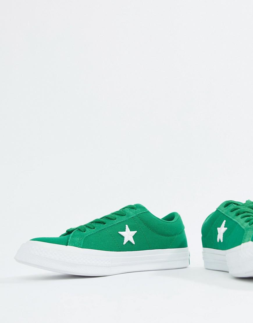Converse Embroidered One Star Sneakers In Green